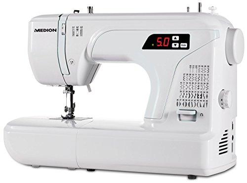 MEDION MD 16661 Freiarm Nähmaschine mit verstellbarer Doppelnadelfunktion, 48 Nähprogramme, weiß