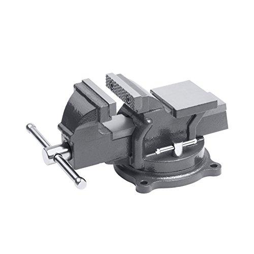 Meister Schraubstock 75 mm - Drehbar - Bis 75 mm Spannweite - Stahlbacken / Tischschraubstock mit Amboss / Schraubstock massiv für Werkbank mit zusätzlichen Schutzbacken / 5142500