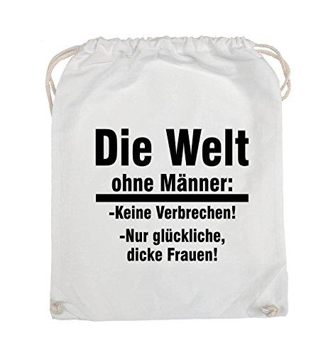 Comedy Bags - Die Welt ohne Männer - keine Verbrechen nur dicke Frauen - Turnbeutel - 37x46cm - Farbe: Schwarz / Pink Weiss / Schwarz