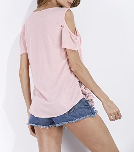 Smile YKK Blouse Eté Femme T-shirt Chemise Epaule Nue Manches Courtes Col V Top Casual Plage Pastèque Rouge