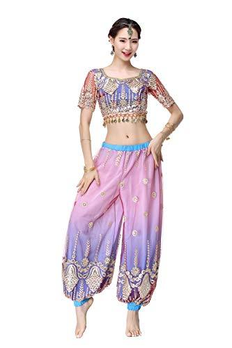 Dance Indische Fancy Kostüm - DRESSS Indischer Sari Tanzkostüm Erwachsener Feminine Bauchtanz Kostüm Set (Farbe : Lake Blue, größe : M)