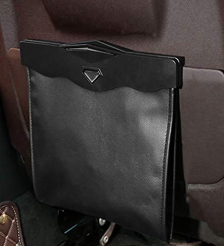Auto Mülleimer Auto Innenraum Müllsack Sitz hängen Aufbewahrungstasche kreative Multifunktions Mülleimer (Color : Schwarz)