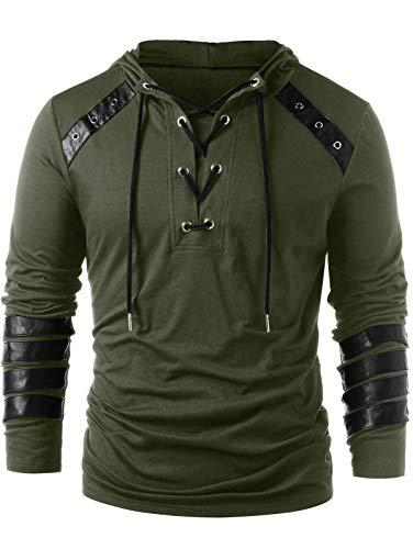 CharMma Herren Sweatshirt Casual Einfarbig Lace Up Faux Leder Pullover Hoodie Sweatshirt (Grün, M) Faux Fur Hooded Pullover