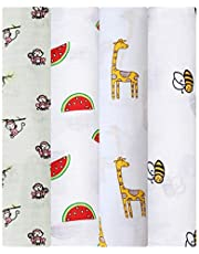 Mom's Home Organic Cotton Super Soft Baby Muslin Cloth Swaddle - 0-12 Months - Pack of 4 - Monkey, Bee, Giraffe, Icecream