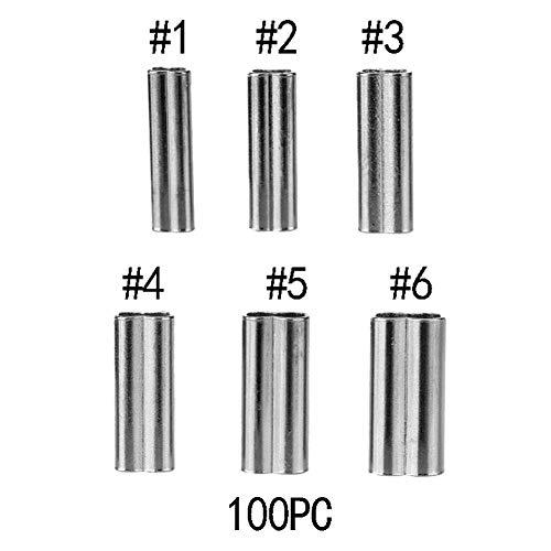 Klemmhülsen Angeln Aluminium Crimpen Loop Sleeve Angeln, 200 Stück Double Barrel Sleeves Angeln Draht Ärmel Angelschnur Tube Leader Sleeves Kupferrohr-Anschluss(1.2mm*10mm) -