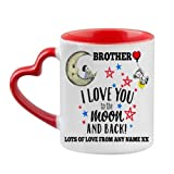 Personalised Fathers Day Themed Brother I Love You to The Moon & Back 11oz Red Inside red Heart Handle Mug.