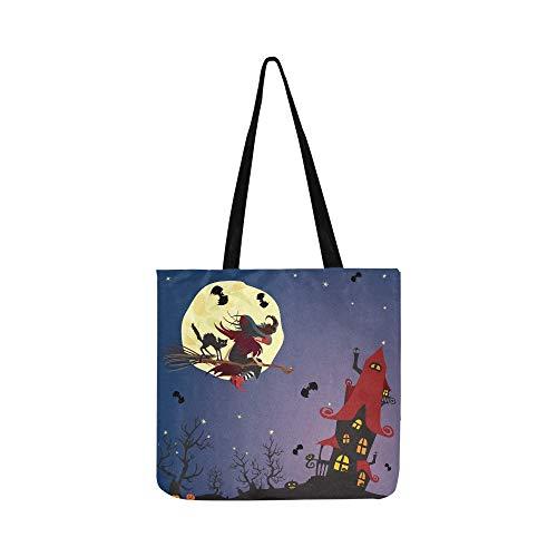 Halloween Nacht Hexe Schwarze Katze Fliegen Leinwand Tote Handtasche Umhängetasche Crossbody Taschen Geldbörsen Für Männer Und Frauen Einkaufstasche (Halloween Hexen-magie, Cartoon)