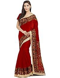 Florence Bhagalpuri Silk Printed Saree With Blouse(FL-12334_Red)