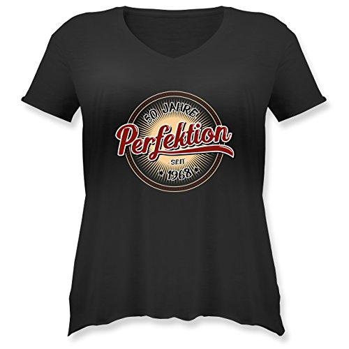 Shirtracer Geburtstag - 50 Jahre Perfektion Seit 1968 - Weit Geschnittenes Damen Shirt in Großen Größen mit V-Ausschnitt Schwarz