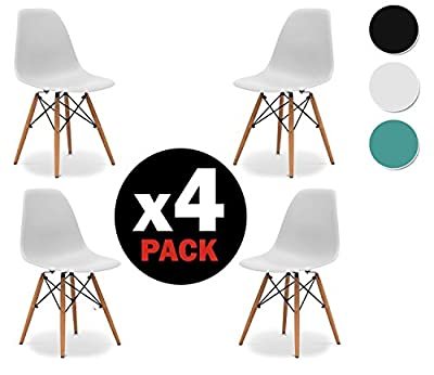due-home (Nordik)–Pack 4Chairs White Tower, Chair Replica Eames White and Beech Wood, Dimensions 47cm x 56cm Depth x 81cm Height