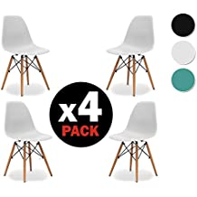 Due-home (Nordik) - Pack 4 sillas tower Blanca, silla réplica eames blanco y madera de haya, medidas: 47 cm ancho x 56 cm fondo x 81 cm altura