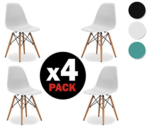 Due-home (Nordik) - Pack 4 sillas tower Blanca, silla réplica eames blanco...