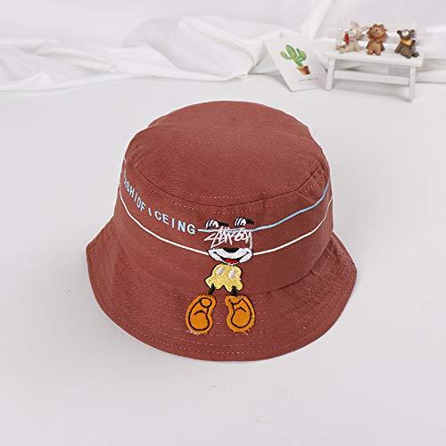 mlpnko Wilde Kind Hut Neue Welpe Cartoon Hut Kind Becken Kappe Baby Fischer Hut Schatten Hund Flat Top Becken Kappe - braun 50-52cm geeignet für 2-5 Jahre altes Baby