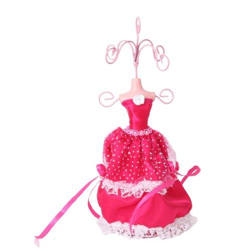 Mini Lace Kleid Dame Mannequin Ohrring Armband Kette Schmuck Ständer Anzeige Halter schockierend rosa (Kette Mini Kleid)