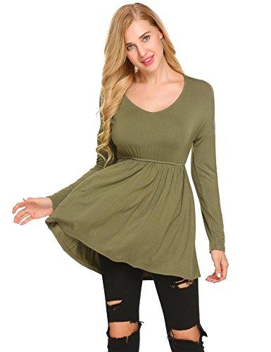 Modfine - T-shirt de sport - Body chemise - Uni - Col Rond - Manches Longues - Femme Vert