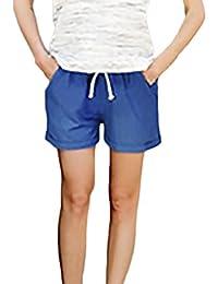 Laisla Fashion Pantaloncini Donna Estivi Moda Casual Baggy con Tasca Shorts Lino  Pantaloni Corti Taglie Forti 8e492f50ad7