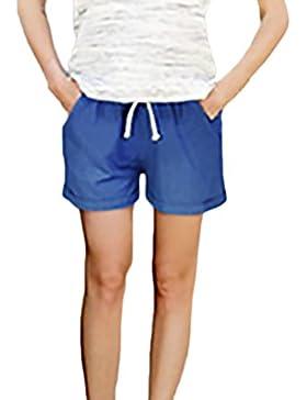 2fb003b3cd2ad1 Donna Pantaloncini Estivi Moda Casual Baggy con Cute Chic Shorts Lino  Pantaloni Corti Taglie Forti