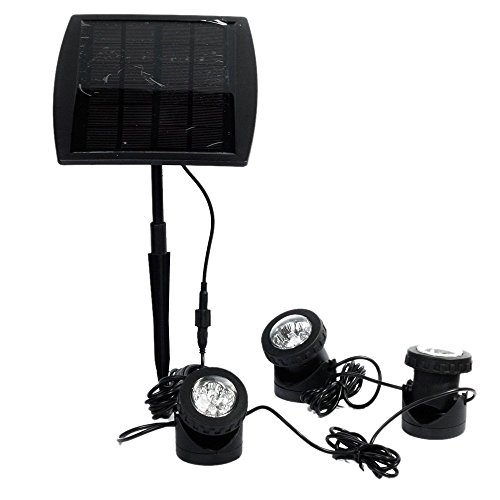 Spot Solar-outdoor-lampen (Ankway Solarspots Unterwasserstrahler LED Teichbeleuchtung Solar mit drei Spots wasserdicht IP68 Solar Spotlight Licht Sensor für Pool or Garten- weiß)