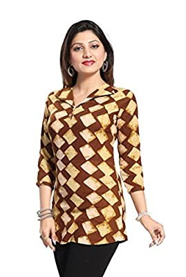 THE DRESSERY Women's Rayon Printed Top (TDC2092, Dark Brown)