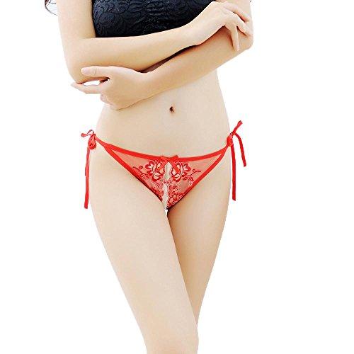 SUCES Damen Reizvoller Unterhose Einfarbig Spitze Perspektive Höschen Nahtlos Baumwolle G-String Hohl Atmungsaktiv Briefs Spitze Thongs Höschen Einstellbare Unterwäsche Spitze Thongs (Red) (Panty Crotchless Red)