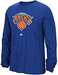 New York Knicks Adidas NBA Full Primary Logo Long Sleeve T-Shirt Chemise - Blue