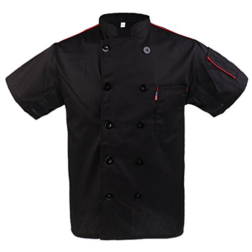 Baoblaze Kurzarm Kochjacke Bäckerjacke Chef Mantel Jacke Restaurant Koch Uniform Kochmantel - Schwarz, 3XL - 3