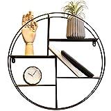 LXQGR Retro- LOFT runder an der Wand befestigter Metallregal/Racks丨Schindel-Bücherregal丨Speicher-Präsentationsständer Standplatz丨Schwimmender Einheits-Rahmen 4 Reihen Home-2 (Farbe : SCHWARZ)