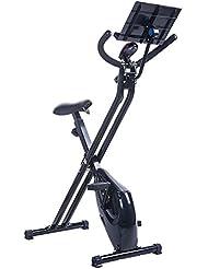 BTM bicicleta estática magnética plegable, para fitness, ejercicio de cardio, pérdida de peso, máquina con soporte para iPad Negro negro