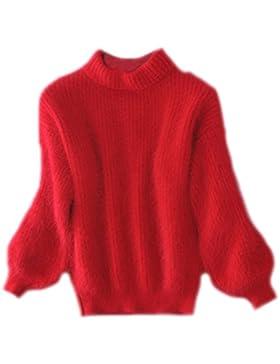Mujeres Jerséis Redondo Cuello Sueter Flojo Jersey De Punto Abrigo Otoño Invierno Pullover Jumper