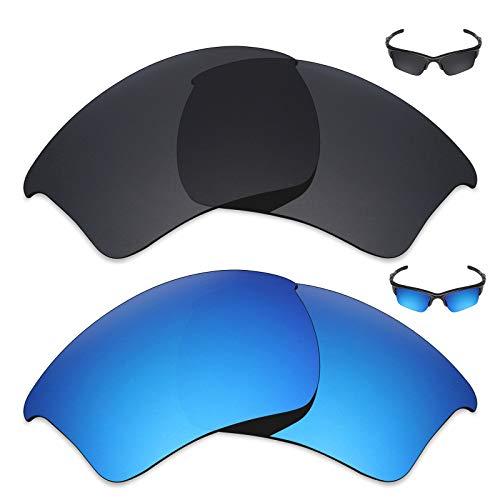 MRY 2Paar Polarisierte Ersatz Gläser für Oakley Half Jacket 2.0XL Sonnenbrille-Reiche Option Farben, Stealth Black & Ice Blue