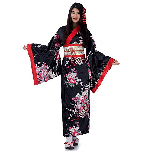 Sexy Kostüm Sushi - Japanischer Damen Yukata Kimono Chici Baumwolle One Size Orange