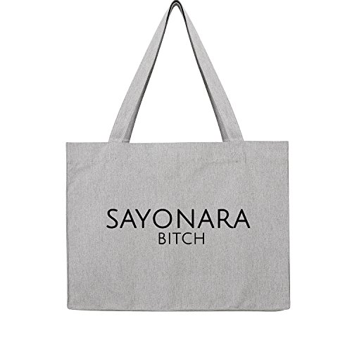 sayonara Bag Frauen Shopper grau Jute Beutel Handtasche Strand Sommer faltbar groß bedruckt mit Motiv (394-U762-Grau)