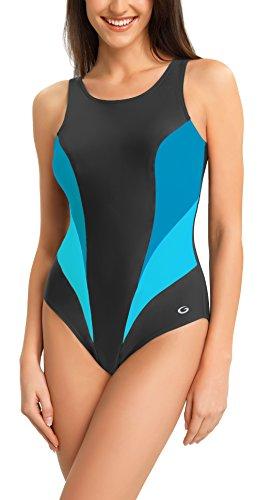 Gwinner Damen Badeanzug - für Sport und Freizeit - ideale Passform, resistent gegen UV und Chlor - herausnehmbare Körbchen - Daisy, Graph/Turq, 36