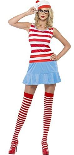men Wo ist Wally Wenda Waldo Sexy Büchertag Junggesellinnenabschied Kostüm Kleid Outfit mit Strümpfe Hut Brille -, 4-6, Rot/weiß (Wo Ist Waldo Kostüme)