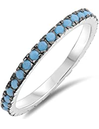 925 Sterling Silver/& Recon Turquoise Gemstone Bubble Stacking Stacker Ring