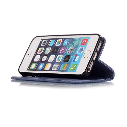 Roreikes Schutzhülle für Apple iPhone SE 5 5S, Campanula Muster Prägung Ledertasche Slim Retro PU Leder Bookstyle Handyhülle Tasche Flip Wallet Case mit Strap Portable Handytasche Anti-Scratch Shell C Marine