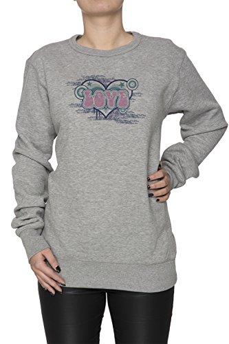 Love Pink Donna Grigio Felpa Felpe Maglione Pullover Grey Women's