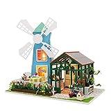 Windmühle Blumenhaus DIY kleines Haus von Hand zusammengebautes Modell Glasabdeckung LED Nachtlicht Spieluhr Weihnachten Valentinstag Geschenk exquisite dreidimensionale dekorative Kunsthandwerk
