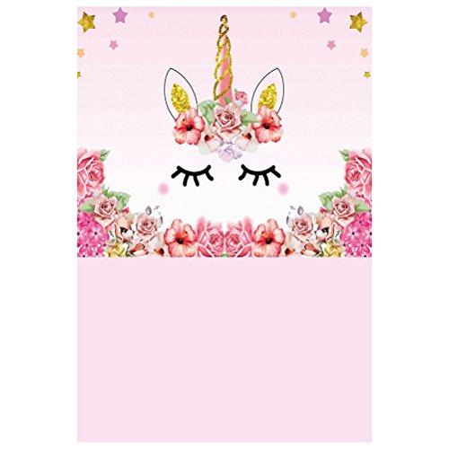 BESTOYARD Unicorn Photo Photo Background 3D Baby Birthday Party Photography Telón de fondo de pared de tela para unicornio Baby Shower Decoraciones de fiesta de cumpleaños 90x150cm (1675)