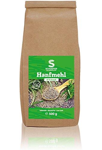 Bio Hanfmehl teil-entölt low carb, hoher Eiweißgehalt, reich an Omega-3, Proteinpulver für Shakes, zum Kochen und Backen, glutenfrei und vegan 500g