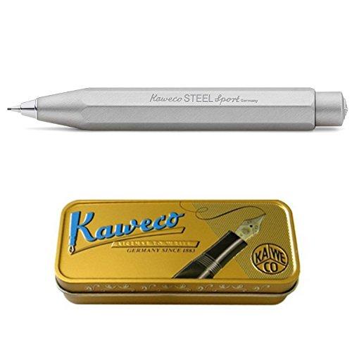 Kaweco Steel Sport Druckbleistift 0.7mm HB I Minenbleistift aus gebürstetem Edelstahl I Edler Druckminenbleistift Silber im klassischen Design I 10,5 cm Taschen Druck-Bleistift nachfüllbar