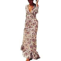 Las Mujeres Vestido De Verano Casual Bohemio Floral Print Swing Maxi Vestidos Picture S