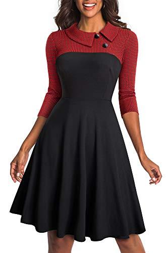 HOMEYEE Robe d'affaires à Revers Vintage Colorblock pour Femme A121 (EU 40 = Size L, Rouge Tissu B)