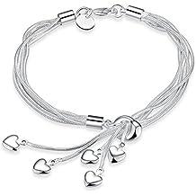 LDUDU® bracelet en argent pour femme en argent 925 avec bracelet de style Fringe Coeur Tassel anniversaire cadeau femme 20cm Mariage Noël Saint-Valentin