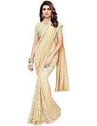 Akhilam Women's Solid Net Saree with Unstitched Blouse Piece (Off-white_NTLC3303)