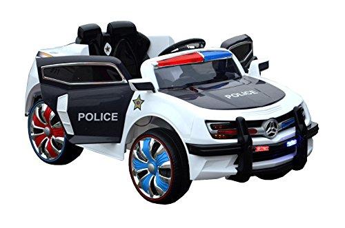ES-TOYS Kinderfahrzeug - Elektro Auto Polizei Design - 12V7AH Akku,2 Motoren- 2,4Ghz Fernsteuerung, MP3+Polize-Lichter -Schwarz/Weiss
