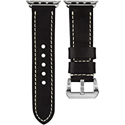 USA Oiled Leather Geckota® Watch Strap Ivory Stitch for Apple Watch 42mm, Jet Black