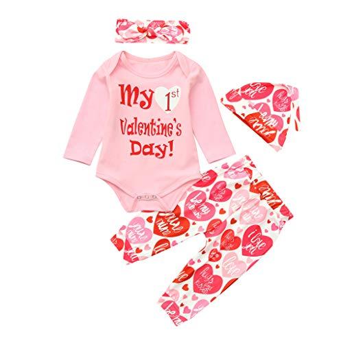 HEETEY Neugeborenes Baby-Baby-Mädchen Buchstaben Valentinstag Strampler Tops Liebe Hosen Mütze Set Valentine-Outfits
