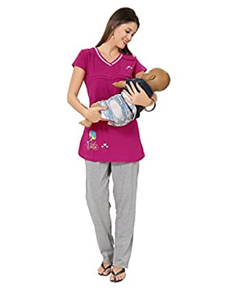 AV2 Women's Cotton Top and Pyjama Set (2677M, Pink, Medium)