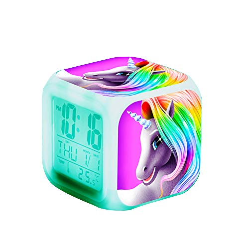 Unicornio Relojes de alarma digitales para niñas, LED de noche que brilla intensamente Reloj LCD con luz para niños Despertar Reloj de cabecera Regalos de cumpleaños para niños Mujeres Dormitorio (1)